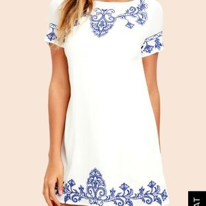 White Dress with Blue designs